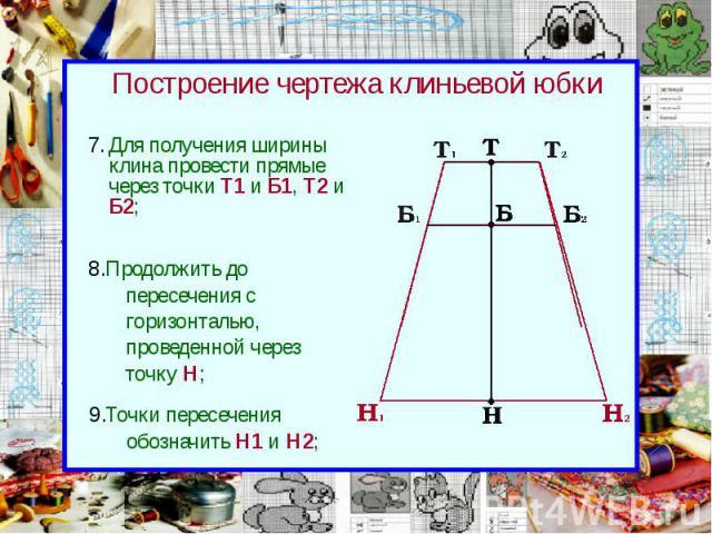 Построение чертежа клиньевой юбки Для получения ширины клина провести прямые через точки Т1 и Б1, Т2 и Б2;