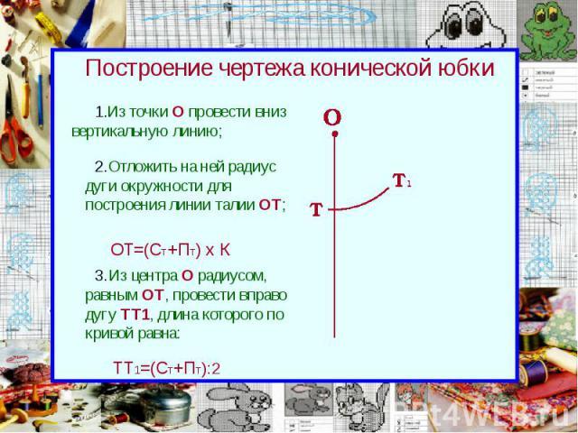 Построение чертежа конической юбки Из точки О провести вниз вертикальную линию;