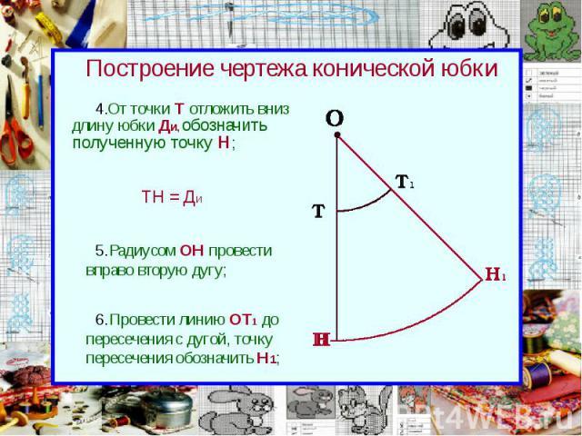 Построение чертежа конической юбки От точки Т отложить вниз длину юбки Ди, обозначить полученную точку Н;
