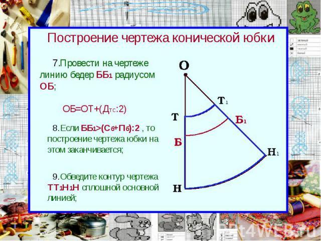 Построение чертежа конической юбки Провести на чертеже линию бедер ББ1 радиусом ОБ;