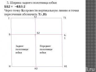 5. Ширина заднего полотнища юбки: ББ2 = ББ1:2 Через точку Б2 провести вертикальн