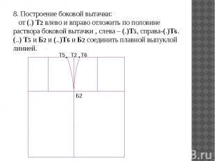 8. Построение боковой вытачки: от (.) Т2 влево и вправо отложить по половине рас