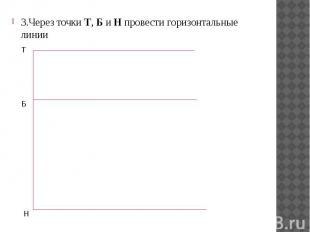 3.Через точки Т, Б и Н провести горизонтальные линии 3.Через точки Т, Б и Н пров