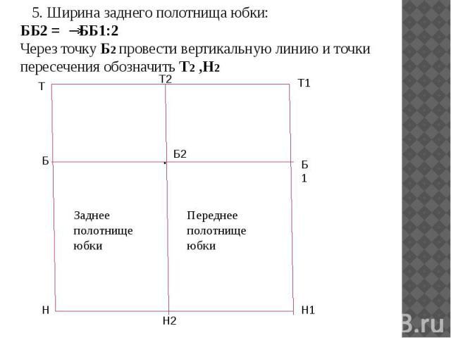 5. Ширина заднего полотнища юбки: ББ2 = ББ1:2 Через точку Б2 провести вертикальную линию и точки пересечения обозначить Т2 ,Н2 5. Ширина заднего полотнища юбки: ББ2 = ББ1:2 Через точку Б2 провести вертикальную линию и точки пересечения обозначить Т2 ,Н2