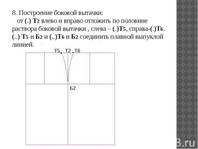 8. Построение боковой вытачки: от (.) Т2 влево и вправо отложить по половине раствора боковой вытачки , слева – (.)Т5, справа-(.)Т6. (..) Т5 и Б2 и (..)Т6 и Б2 соединить плавной выпуклой линией. 8. Построение боковой вытачки: от (.) Т2 влево и вправ…