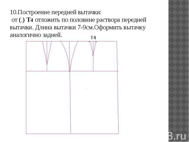 10.Построение передней вытачки: от (.) Т4 отложить по половине раствора передней вытачки. Длина вытачки 7-9см.Оформить вытачку аналогично задней. 10.Построение передней вытачки: от (.) Т4 отложить по половине раствора передней вытачки. Длина вытачки…