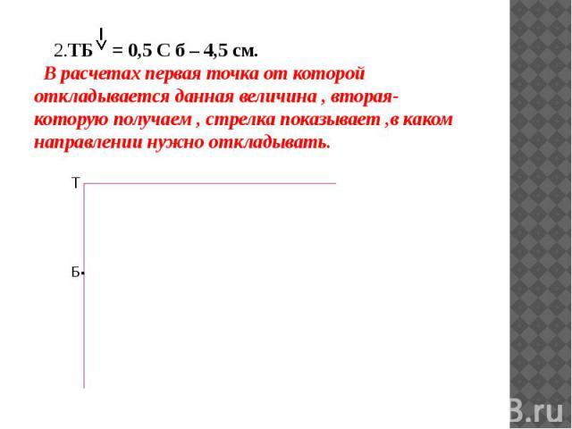2.ТБ = 0,5 С б – 4,5 см. В расчетах первая точка от которой откладывается данная величина , вторая- которую получаем , стрелка показывает ,в каком направлении нужно откладывать. 2.ТБ = 0,5 С б – 4,5 см. В расчетах первая точка от которой откладывает…