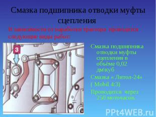 Смазка подшипника отводки муфты сцепления в объёме 0,02 дм\куб Смазка подшипника