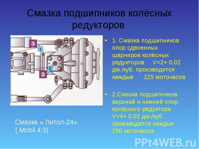 1. Смазка подшипников опор сдвоенных шарниров колёсных редукторов V=2+ 0,02 дм./куб. производится каждые 125 моточасов 1. Смазка подшипников опор сдвоенных шарниров колёсных редукторов V=2+ 0,02 дм./куб. производится каждые 125 моточасов 2.Смазка по…