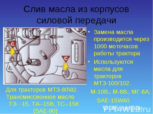 Замена масла производится через 1000 моточасов работы трактора Замена масла производится через 1000 моточасов работы трактора Используются масла для тракторов МТЗ-100/102. М-10В2; М-8В2; МГ-8А; SAE-15W40 V=45 литров