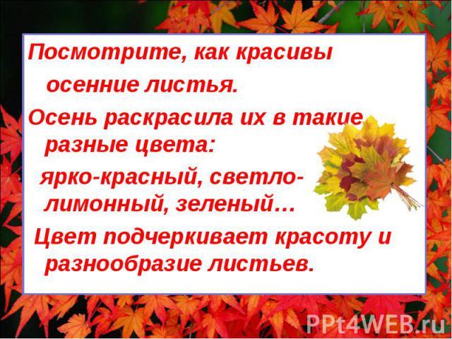 Посмотрите, как красивы Посмотрите, как красивы осенние листья. Осень раскрасила их в такие разные цвета: ярко-красный, светло-лимонный, зеленый… Цвет подчеркивает красоту и разнообразие листьев.