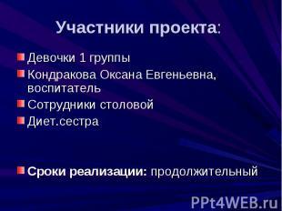 Участники проекта: Девочки 1 группы Кондракова Оксана Евгеньевна, воспитатель Со