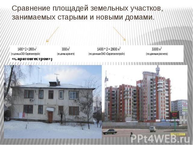Сравнение площадей земельных участков, занимаемых старыми и новыми домами.