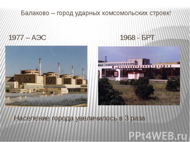 Балаково – город ударных комсомольских строек! 1977 – АЭС 1968 - БРТ Население города увеличилось в 3 раза