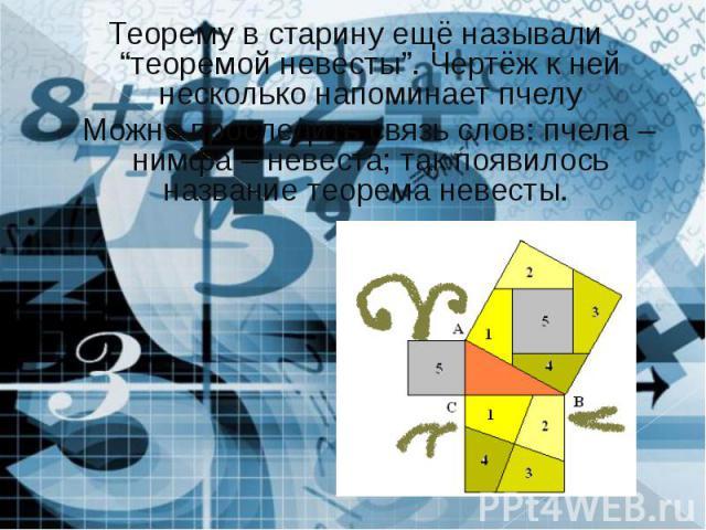 """Теорему в старину ещё называли """"теоремой невесты"""". Чертёж к ней несколько напоминает пчелу Можно проследить связь слов: пчела – нимфа – невеста; так появилось название теорема невесты."""