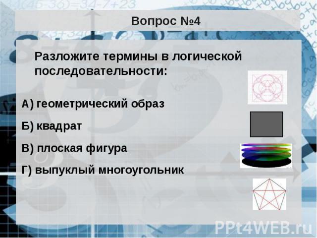 Вопрос №4 Разложите термины в логической последовательности: А) геометрический образ Б) квадрат В) плоская фигура Г) выпуклый многоугольник