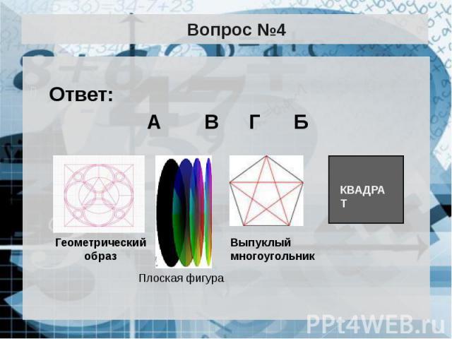 Вопрос №4 Ответ: А В Г Б