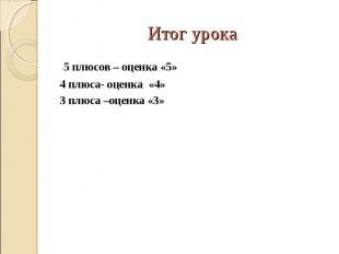 5 плюсов – оценка «5» 5 плюсов – оценка «5» 4 плюса- оценка «4» 3 плюса –оценка