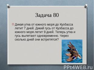Дикая утка от южного моря до Кузбасса летит 7 дней. Дикий гусь от Кузбасса до юж