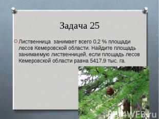 Лиственница занимает всего 0,2 % площади лесов Кемеровской области. Найдите площ