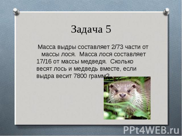 Масса выдры составляет 2/73 части от массы лося. Масса лося составляет 17/16 от массы медведя. Сколько весят лось и медведь вместе, если выдра весит 7800 грамм? Масса выдры составляет 2/73 части от массы лося. Масса лося составляет 17/16 от массы ме…