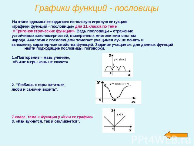 На этапе «домашнее задание» использую игровую ситуацию На этапе «домашнее задание» использую игровую ситуацию «графики функций - пословицы» для 11 класса по теме « Тригонометрические функции». Ведь пословицы – отражение устойчивых закономерностей, в…