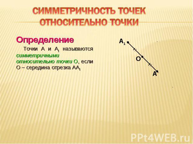 Определение Определение Точки A и A1 называются симметричными относительно точки О, если О – середина отрезка AA1