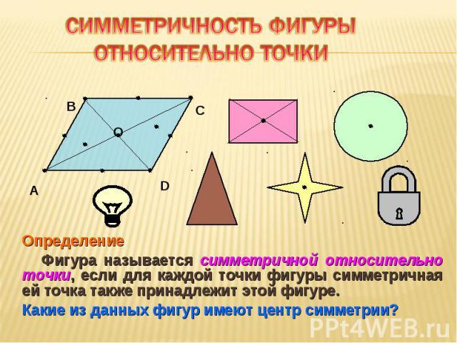 Определение Определение Фигура называется симметричной относительно точки, если для каждой точки фигуры симметричная ей точка также принадлежит этой фигуре. Какие из данных фигур имеют центр симметрии?