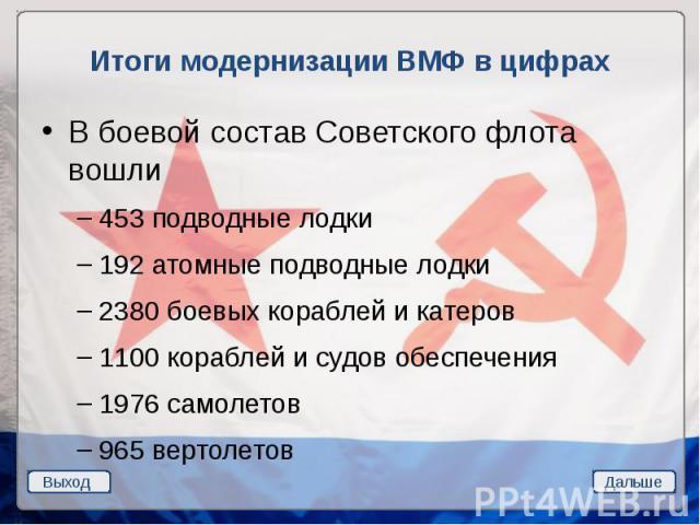 Итоги модернизации ВМФ в цифрах В боевой состав Советского флота вошли 453 подводные лодки 192 атомные подводные лодки 2380 боевых кораблей и катеров 1100 кораблей и судов обеспечения 1976 самолетов 965 вертолетов