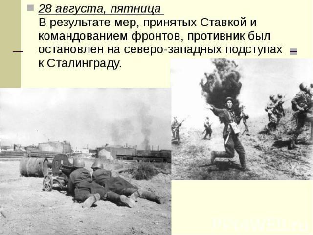 28 августа, пятница В результате мер, принятых Ставкой и командованием фронтов, противник был остановлен на северо-западных подступах к Сталинграду. 28 августа, пятница В результате мер, принятых Ставкой и командованием фронтов, противни…