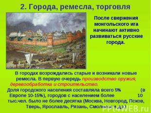 2. Города, ремесла, торговля После свержения монгольского ига начинают активно р
