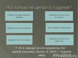 Что только не делал Б.Годунов? Но в народе росло недовольство царем.Начались бун