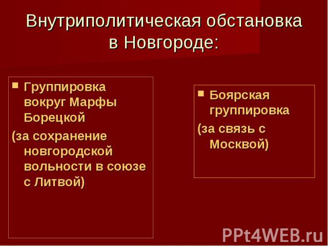 Внутриполитическая обстановка в Новгороде: Группировка вокруг Марфы Борецкой (за сохранение новгородской вольности в союзе с Литвой)