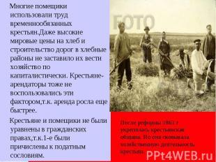 Многие помещики использовали труд временнообязанных крестьян.Даже высокие мировы