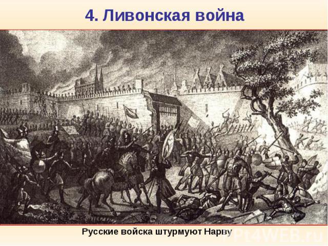 4. Ливонская война Ливо нская война (1558-1583) велась Царством Русским за территории в Прибалтике и выход к Балтийскому морю, чтобы прорвать блокаду со стороны Ливонской конфедерации, Великого княжества Литовского и Швеции и установить непосредстве…