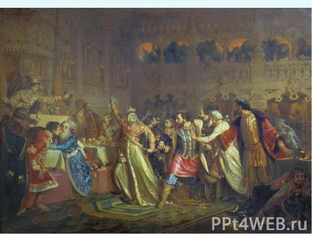 2. Борьба за власть Орда выдала ярлык Василию, но не согласный с этим Юрий стал в Галиче собирать все силы недовольные Василием. В 1433 г. началось открытое противостояние – московские войска были разбиты, Василий бежал в Кострому, но был взят в пле…