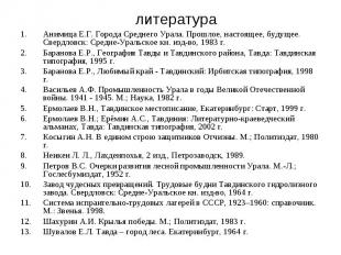литература Анимица Е.Г. Города Среднего Урала. Прошлое, настоящее, будущее. Свер