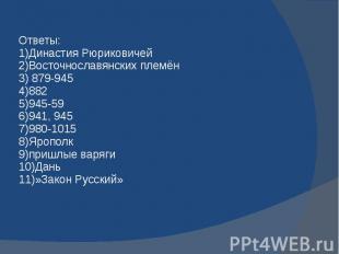 Ответы: 1)Династия Рюриковичей 2)Восточнославянских племён 3) 879-945 4)882 5)94