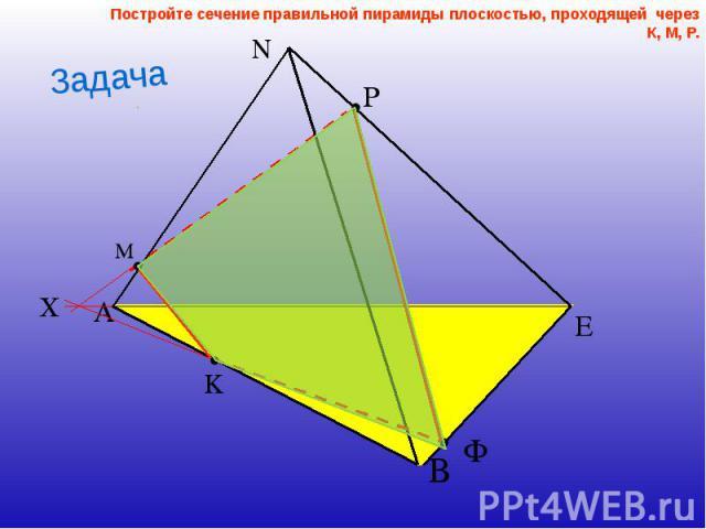 Постройте сечение правильной пирамиды плоскостью, проходящей через К, М, Р. Постройте сечение правильной пирамиды плоскостью, проходящей через К, М, Р.