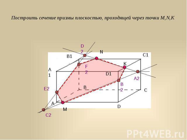 Построить сечение призмы плоскостью, проходящей через точки M,N,K