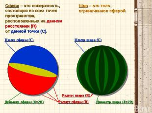 Сфера – это поверхность, состоящая из всех точек пространства,