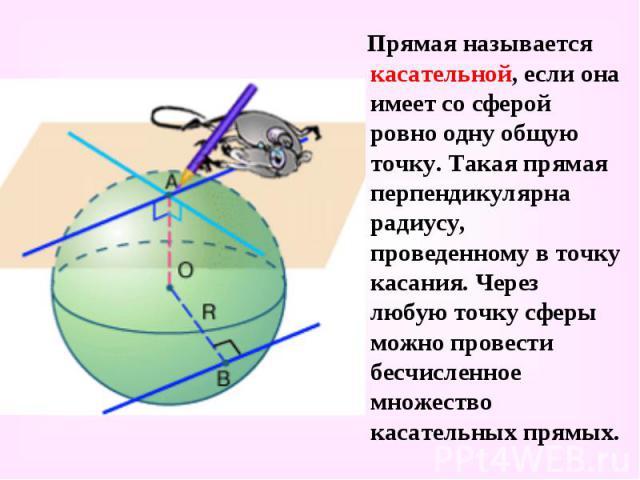 Прямая называется касательной, если она имеет со сферой ровно одну общую точку. Такая прямая перпендикулярна радиусу, проведенному в точку касания. Через любую точку сферы можно провести бесчисленное множество касательных прямых. Прямая называется к…