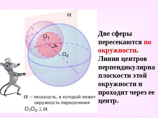 Две сферы пересекаются по окружности. Линия центров перпендикулярна плоскости этой окружности и проходит через ее центр. Две сферы пересекаются по окружности. Линия центров перпендикулярна плоскости этой окружности и проходит через ее центр.