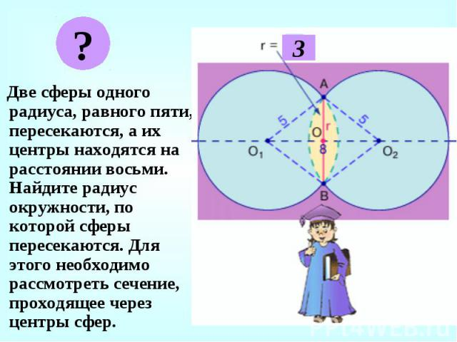 Две сферы одного радиуса, равного пяти, пересекаются, а их центры находятся на расстоянии восьми. Найдите радиус окружности, по которой сферы пересекаются. Для этого необходимо рассмотреть сечение, проходящее через центры сфер. Две сферы одного ради…