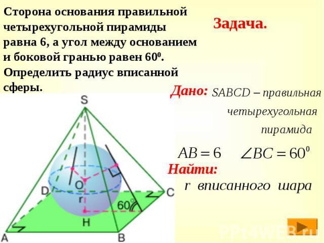 Сторона основания правильной четырехугольной пирамиды равна 6, а угол между основанием и боковой гранью равен 600. Определить радиус вписанной сферы.