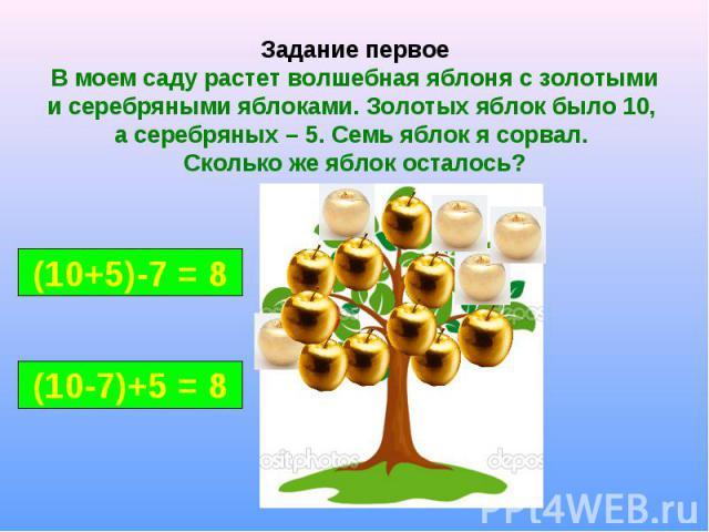 Задание первое В моем саду растет волшебная яблоня с золотыми и серебряными яблоками. Золотых яблок было 10, а серебряных – 5. Семь яблок я сорвал. Сколько же яблок осталось?