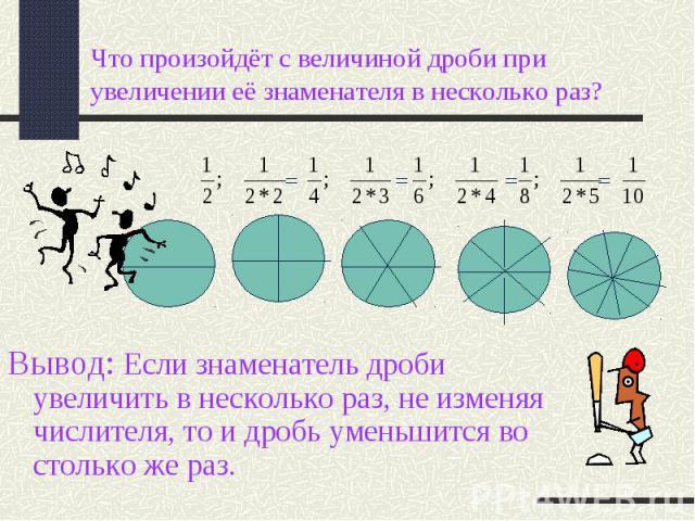 Вывод: Если знаменатель дроби увеличить в несколько раз, не изменяя числителя, то и дробь уменьшится во столько же раз.