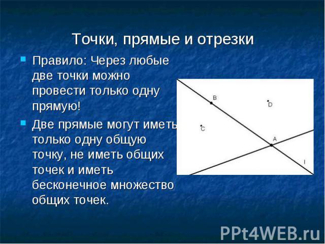 Правило: Через любые две точки можно провести только одну прямую! Правило: Через любые две точки можно провести только одну прямую! Две прямые могут иметь только одну общую точку, не иметь общих точек и иметь бесконечное множество общих точек.