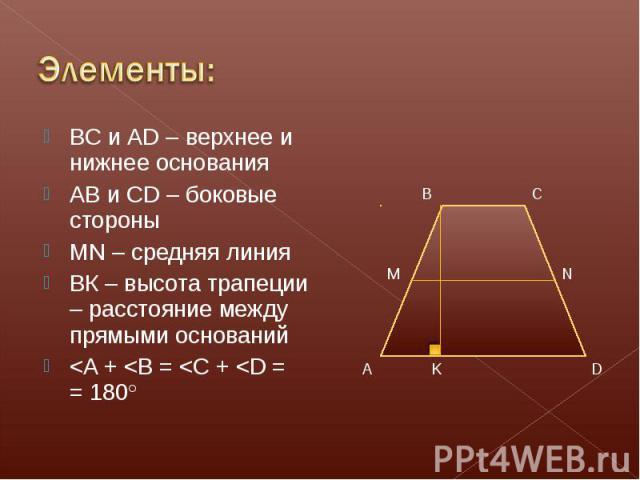 BC и AD – верхнее и нижнее основания BC и AD – верхнее и нижнее основания АВ и CD – боковые стороны MN – средняя линия ВК – высота трапеции – расстояние между прямыми оснований <A + <B = <C + <D = = 180°