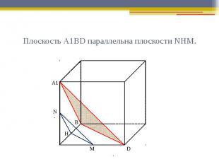 Плоскость А1ВD параллельна плоскости NНМ.
